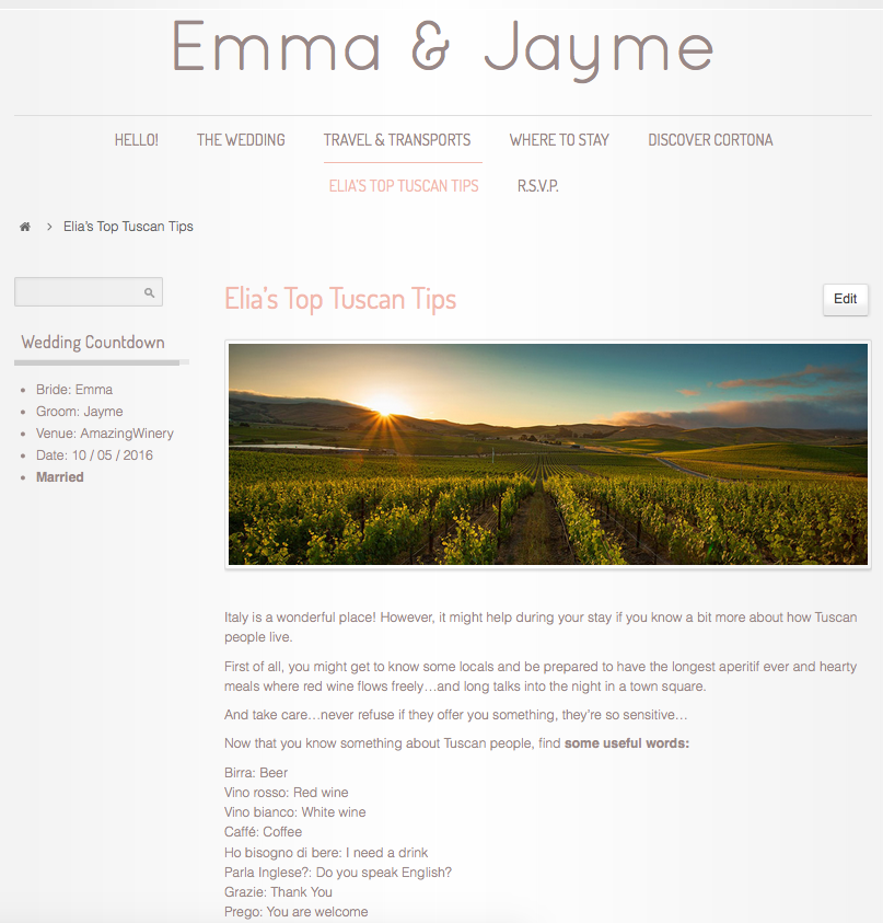 Tuscan Wedding Website Super Tuscan Wedding Planners 1